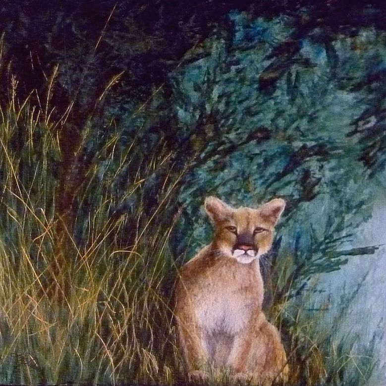 Mountain Lion Painting by Lisa Gibson