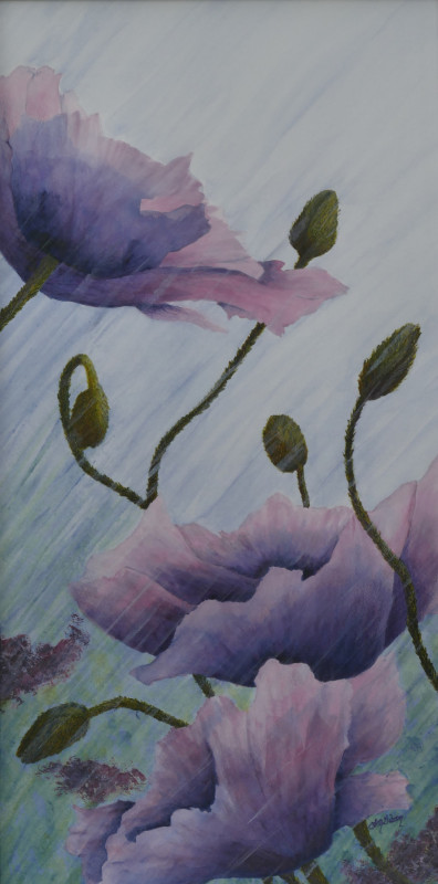 Growing Rains Purple Poppies Painting