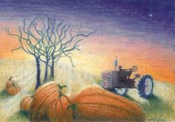 Tractor with pumpkins painting by Lisa Gibson
