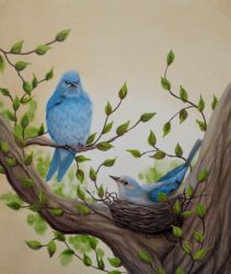 Bluebird painting by Lisa Gibson