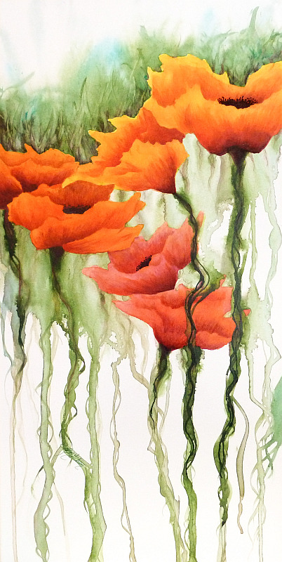 Beneath the Surface Poppy Painting by Lisa Gibson