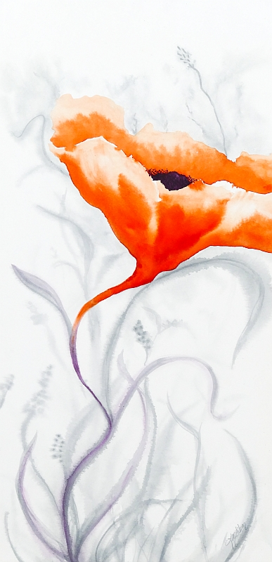 Blooming Again poppy painting by Lisa Gibson