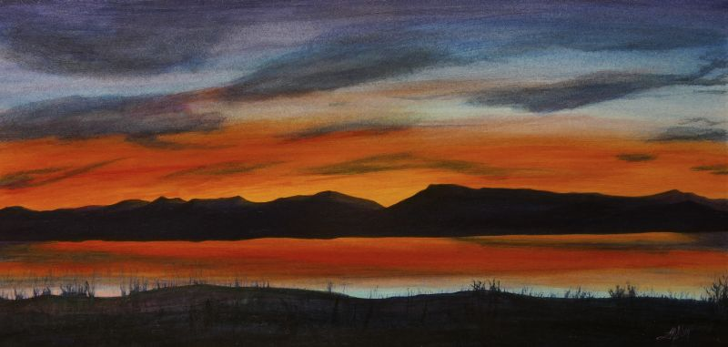 Browns Lake Montana Sunset II Painting