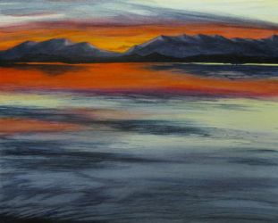 Browns Lake Montana Held Me Captive sunset painting by Lisa Gibson