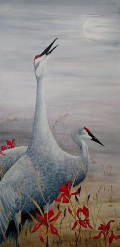 Calling My Name Mixed Media sandhill crane painting by Lisa Gibson