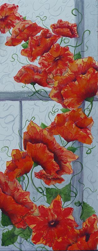 Climbing the Walls Orange Flower Painting by Lisa Gibson