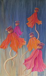 Dance In The Rain Poppy Painting by Lisa Gibson
