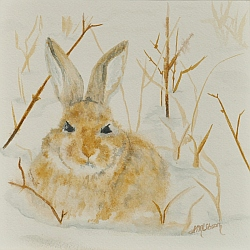 February's Face cottontail in the snow painting by Lisa Gibson