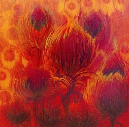 Fiery Thistles Mini Painting by Lisa Gibson