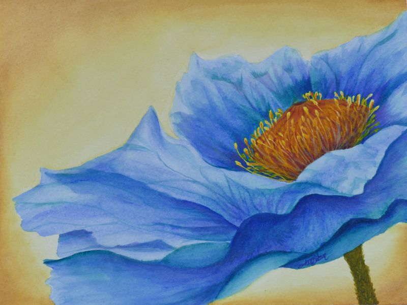Fire in Water Blue Poppy Painting