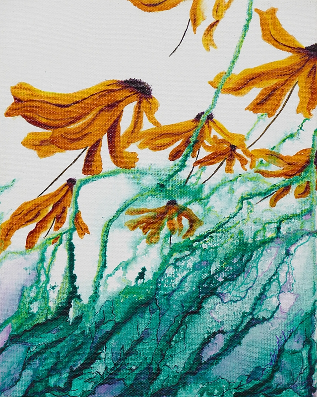 Go With the Flow floral painting by Lisa Gibson