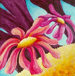 Happy Daisies Mini Painting by Lisa Gibson