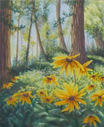 In The Quiet floral landscape painting by Lisa Gibson