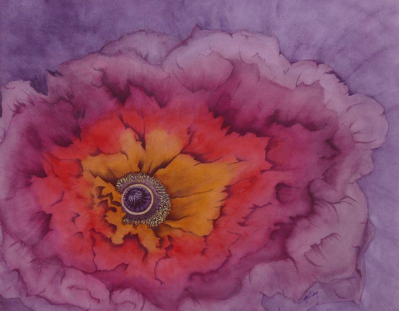 Inner Light Poppy Painting by Lisa Gibson