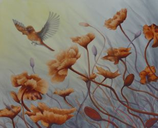 Launched bird & poppy painting by Lisa Gibson