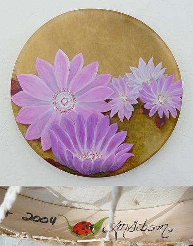 """17"""" shamanic drum with bitterroot flowers by Lisa Gibson"""