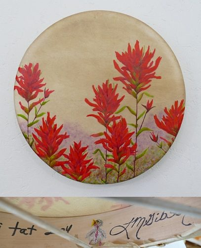 "15"" shamanic drum with indian paintbrush flowers by Lisa Gibson"