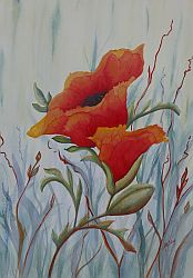 Open Up Orange Poppy Painting by Lisa Gibson