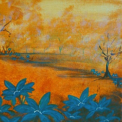 Own Little World Mini Painting by Lisa Gibson