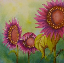 Pink Sunflower 6x6 Mini Painting by Lisa Gibson
