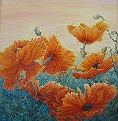 Poppibilites poppy painting by Lisa Gibson