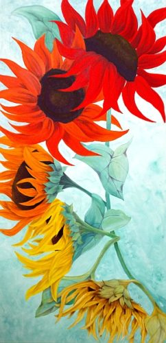 Seasons sunflower painting by Lisa Gibson