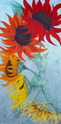 Seasons sunflower painting by Lisa Gibson