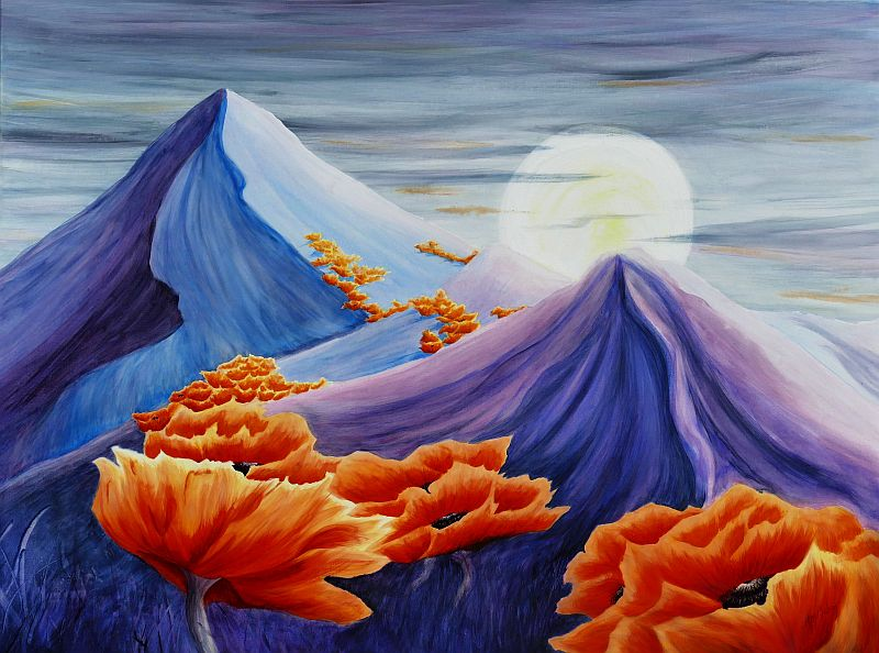 Showin' Up for the Ball Poppy landscape Painting by Lisa Gibson