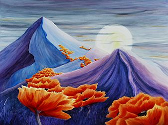 Showin' Up for the Ball Poppy landscape Painting thumbnail by Lisa Gibson