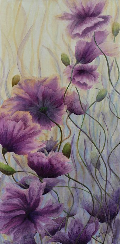 Spring Rising purple poppy painting by Lisa Gibson