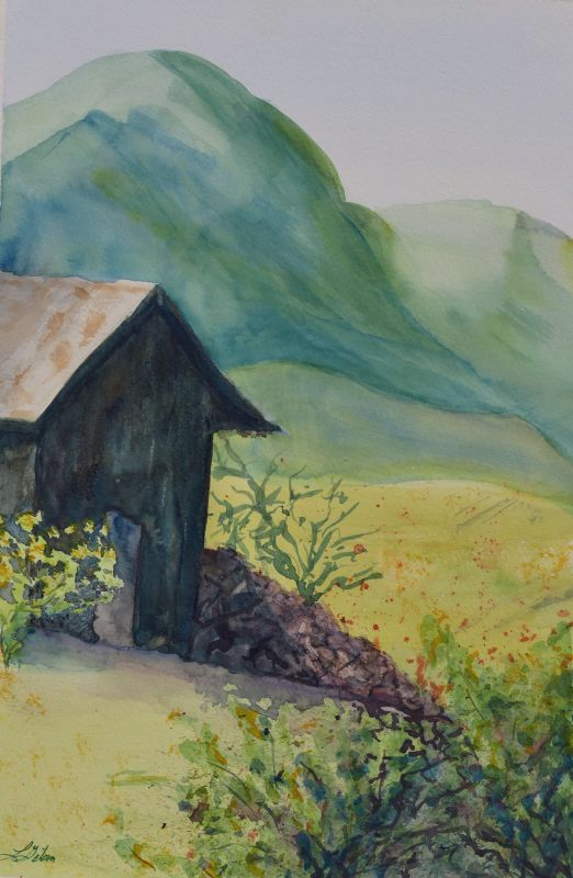 Spring Shed Watercolor Painting