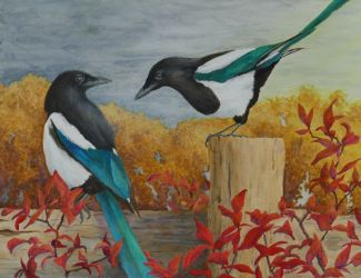 Talkin'Bout The Weather Magpie Painting by Lisa Gibson