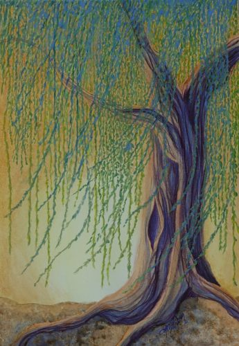 Windy Willow tree painting by Lisa Gibson